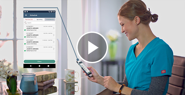 Nurse using axxess homecare app