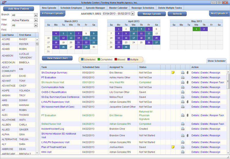 The AgencyCore Scheduling Center interface