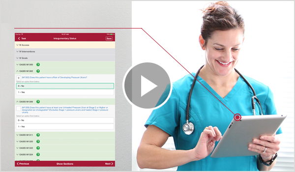 A nurse filling out her Oasis using Axxess' software