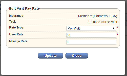 Edit Visit Pay Rate