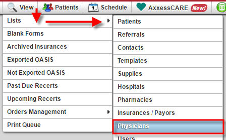 View Lists Physicians