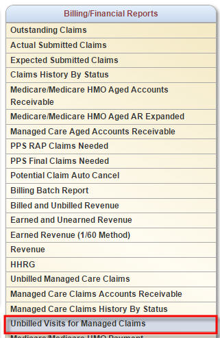 Billing / Financial Reports