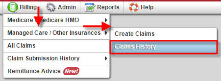 Billing Managed Care Claims History